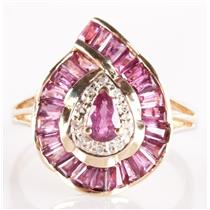 14k Yellow Gold Pink Tourmaline Cocktail Ring W/ Diamond Accents 2.08ctw