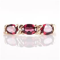 14k Yellow Gold Oval Cut Mozambique Garnet Three-Stone Ring 1.89ctw