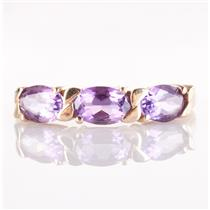 14k Yellow Gold Oval Cut Amethyst Three-Stone Ring 1.26ctw Size 6.5
