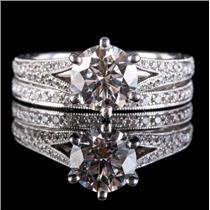 Platinum Round Cut Diamond Engraved Style Engagement / Wedding Ring Set 1.485ctw