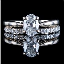 14k White Gold Oval Cut Diamond Solitaire Engagement / Wedding Ring Set 1.33ctw