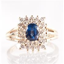 14k Yellow Gold Oval Cut Sapphire & Diamond Cluster Cocktail Ring 1.49ctw