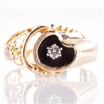 14k Black Hills Gold Tri-Tone Round Cut Diamond Solitaire Floral Ring .08ct
