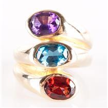 14k Yellow Gold Oval Cut Garnet / Amethyst / Topaz Three-Stone Ring 4.30ctw