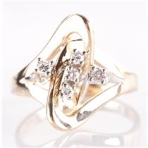 14k Yellow & White Gold Two-Tone Round Cut Diamond Fashion Ring .14ctw