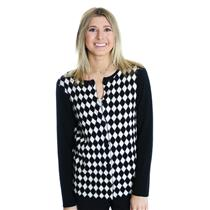 S Authentic NEW Pendleton Petites Black & White Argyle Diamond Checker Cardigan