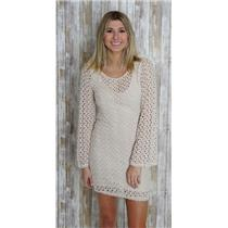 Sz S Free People Ivory Crochet Bell Sleeve Gypsy Lace Bodycon Low Back Dress