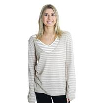 L NWT Linea Blu Beige/White Striped Layered Knit Top Long Sleeve Sheer Sweater