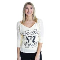 """S New Brokedown """"Tennessee Whiskey"""" Cream Colored 3/4 Sleeve T-shirt VNT254"""