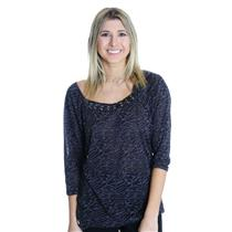 L NWT California Bloom Charcoal Gray Zebra 3/4 Sleeve Square Neck Jersey Top