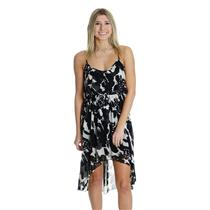 NWT XS Costa Blanca Black White Chiffon Ruffle Hi-Low Sun Dress Elastic Waist