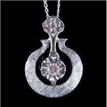 "Vintage 1940's 14k White Gold Round Cut Diamond Pendant W/ 16"" Chain .065ctw"