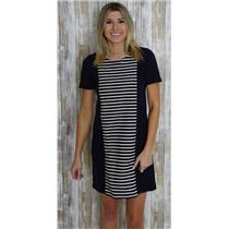 2 J. Crew Navy Blue Short Sleeve Sheath Dress w/Cream Striped Panel Front A3446