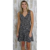 Sz 2 Banana Republic Black/White Marled Tweed Fit And Flare V-Neck Panel Dress