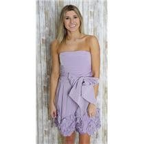 6 BCBG Maxazria Strapless Purple Empire Waist Dress Boning Sash Ruffled Hem LN