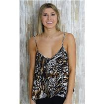 L Minkpink Black White/Brown Zebra Print Boxy Loose Cami Spaghetti Tank Top MINT