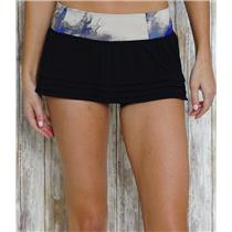 4 Lululemon Breath of Fire Mesh Ruffle Hem Mini Skirt Black/Milky Way Multi