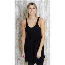 Sz L SKY Black Jersey Knit Sleeveless Scoop Neck Rose Detail Stretch Shift Dress