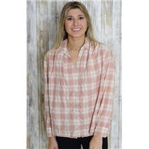 Sz S Madewell Blush Pink/Ivory Button Down Long Sleeve Plaid Collared Shirt