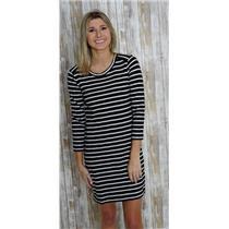 XS J. Crew Black & White Striped 100% Cotton Shirt Dress w/Side Zippers C1037