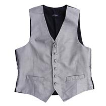 S NWT Lubiam Mens Formal Attire Silver Diamond Button Front Silk Tuxedo Vest