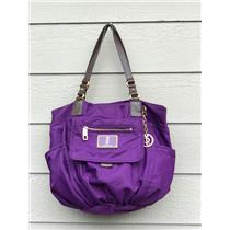 Juicy Couture Dark Purple Nylon Handbag Leather Straps & Gold Metal & Gem Accent
