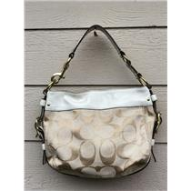 Authentic Coach Zoe Ivory Leather/Light Beige Logo Signature Canvas Hobo Bag