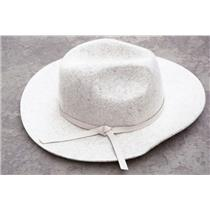 One Size Tart Collection Light Gray 100% Wool Felt Indy Fedora Hat w/ Tie Detail