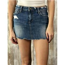 Sz 26 Joe's Jeans Medium Wash Raw Edge Distressing Detail 5-Pocket Style Skirt
