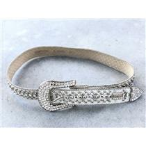38 B.B. Simon White Hair Calf Leather Studded Silver Swarvoski Crystal Belt