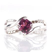 14k White Gold Antique Square Cut Rhodolite Garnet & Diamond Ring 1.35ctw