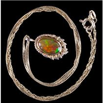 Vintage 1920's 14k Yellow Gold Mexican Fire Opal Solitaire Necklace 1.40ct