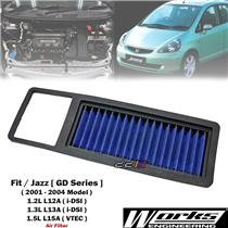 Works High Flow Air Filter For Honda Jazz Fit GD1 GD3 GD5 1.2L 1.3L 1.5L 2001-04