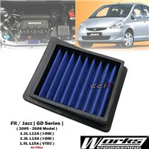 Works High Flow Air Filter For Honda Jazz Fit GD1 GD3 GD5 1.2L 1.3L 1.5L 2005-08