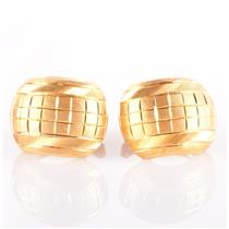 22k Yellow Gold Engraved Style Huggie Earrings W/ Leverbacks 4.02g