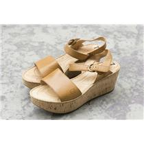 Sz 7 Born Open Toe Cork Wedge Natural Tan Leather Ankle Buckle Maldives Sandal