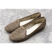 Sz 8.5 Vince Camuto Taupe Suede Almond Toe Laser Cut Geometric Pattern Loafers