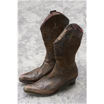 11 Siren by Mark Nason Dark Mahogany Brown Western Cowgirl Boots Zip Side Entry