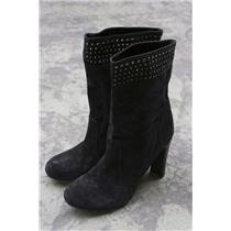 SZ 7 Enzo Angiolini Black Kissmet Suede Calf Length Booties Slouchy Crystals