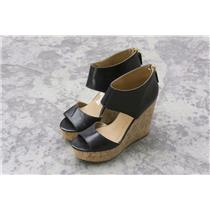 6.5 Nine West Black Pebbled Leather Caswell Round Toe Cork Wedge Open Toe Sandal
