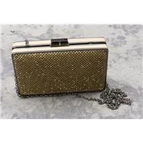BCBG Max Azria Gold Rhinestone/Crystal Covered Box Evening Clutch w/Chain Strap