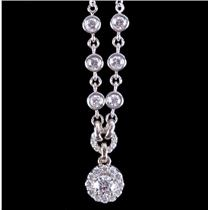 "14k White Gold Festoon Style Round Cut Diamond Necklace .99ctw 16"" Length"