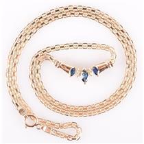 14k Yellow Gold Marquise Cut Sapphire & Round Cut Diamond Necklace .36ctw