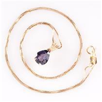 "14k Yellow Gold Pear Cut Purple Sapphire Solitaire Pendant W/ 16"" Chain 1.50ct"