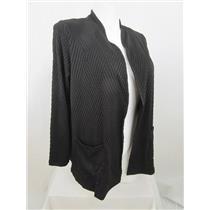 Susan Graver Size 2X Black Textured Knit Long Sleeve Cardigan