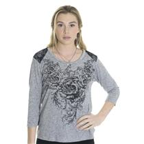 M NWT California Bloom Rose Lace Shoulder Rose Print 3/4 Sleeve Gray Jersey Top