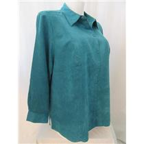 Catherines Size 2X Teal Faux Suede Long Sleeve Buttonfront Top