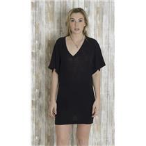 S/M Goddis Olivia Black V-Neck Knit Sweater Mini Dress/Tunic 3/4 Dolman Sleeve