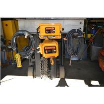Harrington 1 Ton Hoist ER1A with MR1A Electric Trolly, 460V, ER010L, 12' Chain