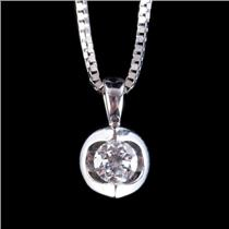 "14k White Gold Round Cut Diamond Solitaire Free Form Pendant W/ 16"" Chain .20ct"